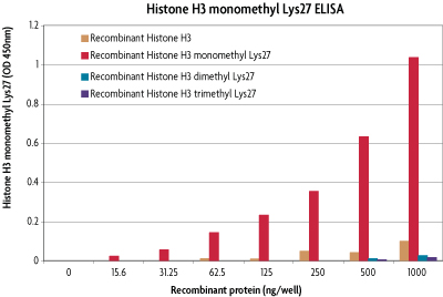 Specificity of the Histone H3 monomethyl Lys27 ELISA (H3K27).
