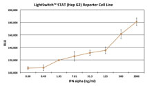 Graph showing the luciferase activity of the LightSwitch STAT Reporter Cell Line (Hep G2) following induction with increasing amounts of IFN alpha