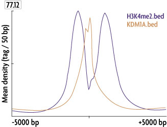 A graph depicting the relative occupancy of demethylase KDM1A and Histone H3 dimethyl Lys4 (H3K4me2) at the transcription start sites of all genes bound by these factors