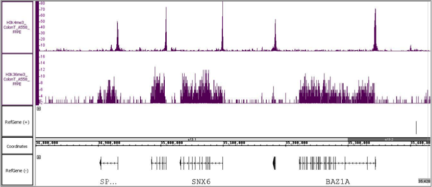 ChIP-Seq performed using antibodies against H3K4me3 and H3K36me3