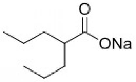 丙戊酸,钠盐的化学结构。