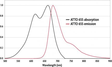 Absorption and emission spectra of ATTO 655 (STED) Dye.